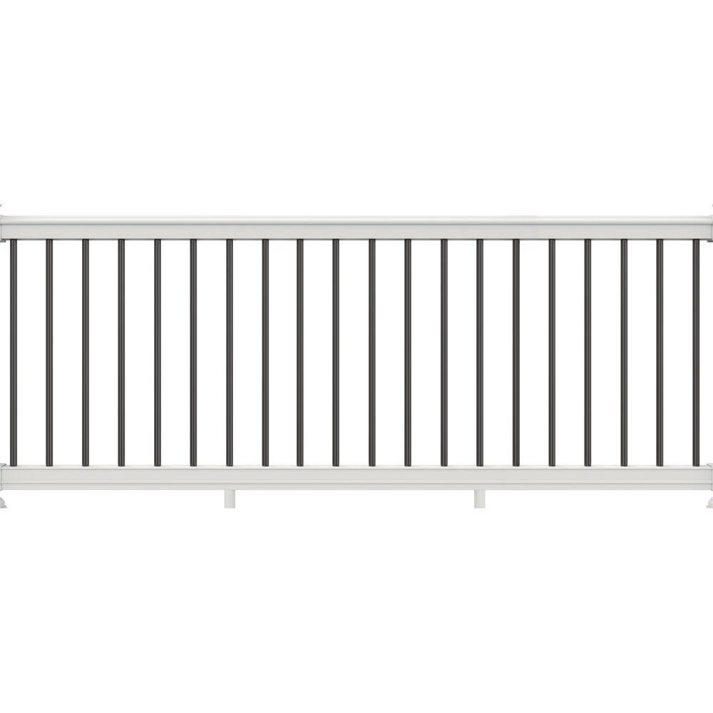 Veranda 36 in x 116 in white vinyl premier rail with black aluminum balusters 73013178 the - Vinyl railing reviews ...
