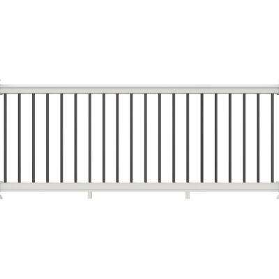 36 in. x 116 in. White Vinyl Premier Rail with Black Aluminum Balusters