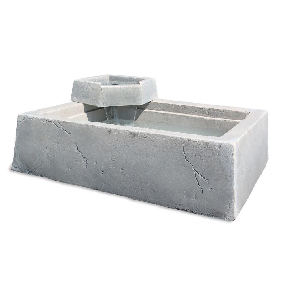 16 in. Large Rectangular Plastic Raised Gray Waterfeature Rock