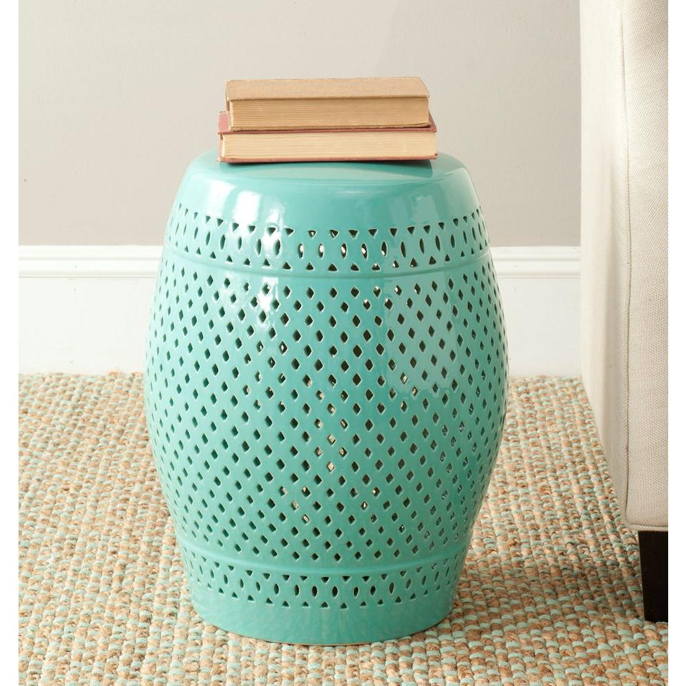 Diamond Robin's Egg Blue Ceramic Patio Stool
