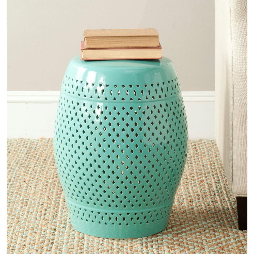 Diamond Robin's Egg Blue Ceramic Patio Stool