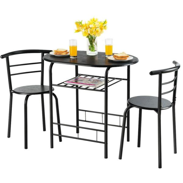 Costway 3 Pcs Dining Set Table And 2 Chairs Compact Bistro Pub Breakfast Home Kitchen Hw54057bk The Home Depot