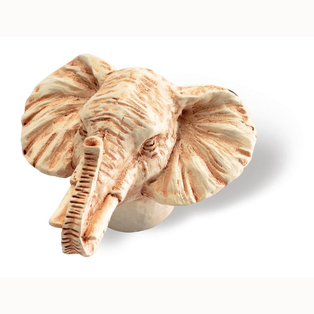 1-3/4 in. Ivory Elephant Head Cabinet Knob