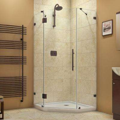 Prism Lux 36.3125 in. x 72 in. Frameless Corner Hinged Shower Enclosure in Oil Rubbed Bronze with Shower Base