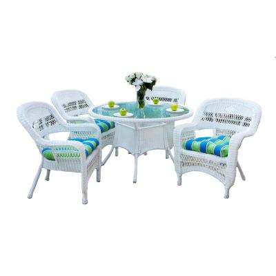 Portside White 5-Piece Wicker Outdoor Dining Set with Eastbay Pompeii Cushions