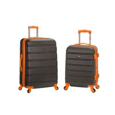 Rockland Melbourne Expandable 2-Piece Hardside Spinner Luggage Set, Charcoal