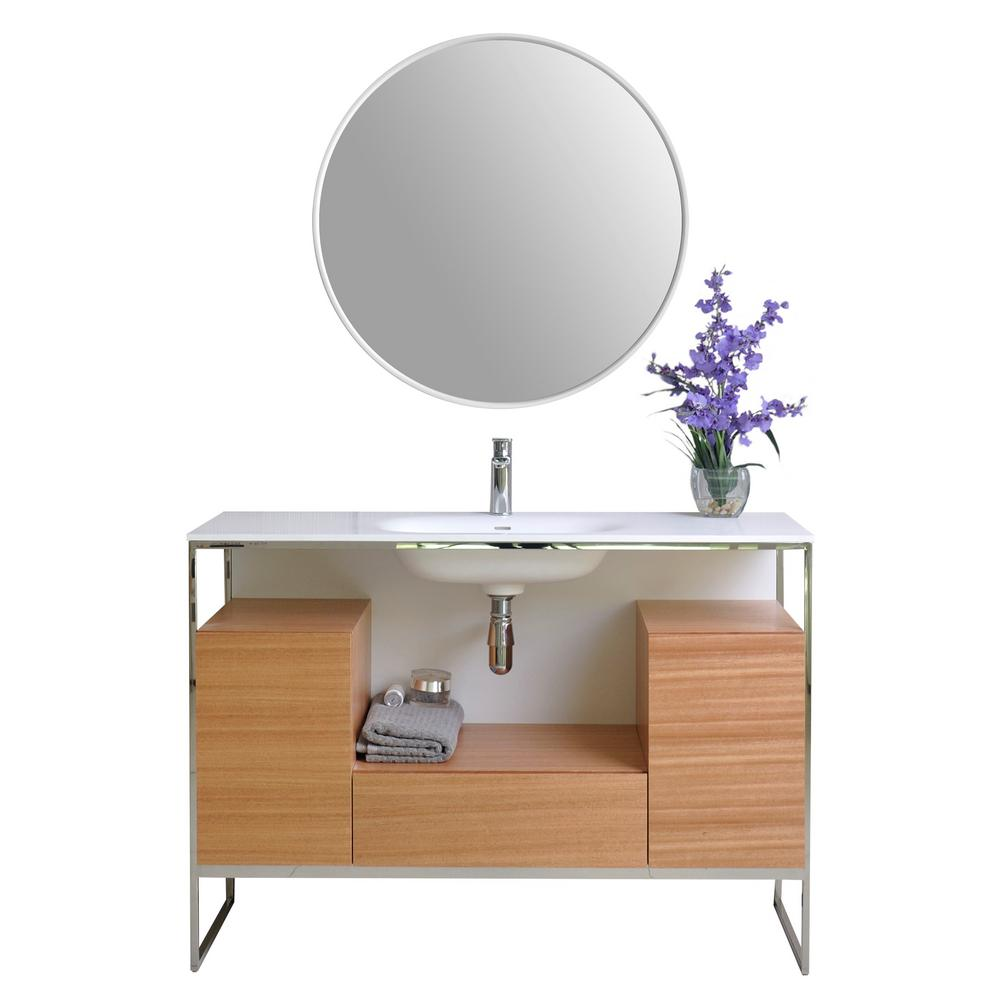 Ancerre Designs Tory 48 in. W x 18 in. D Vanity in Natural Walnut with Solid Surface Vanity Top in White with White Basin and Mirror