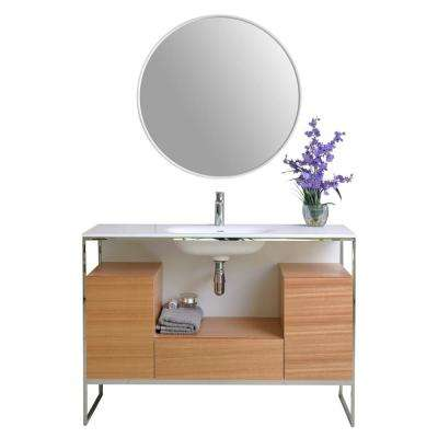 Tory 48 in. W x 18 in. D Vanity in Natural Walnut with Solid Surface Vanity Top in White with White Basin and Mirror