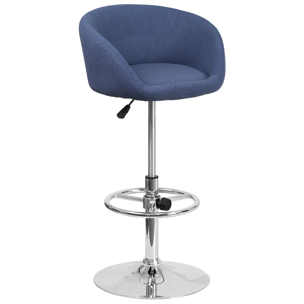 Flash Furniture Adjustable Height Blue Cushioned Bar Stool
