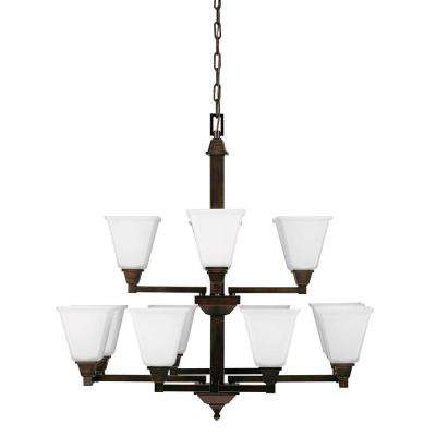 Denhelm 12-Light Burnt Sienna Chandelier with Inside White Painted Etched Glass
