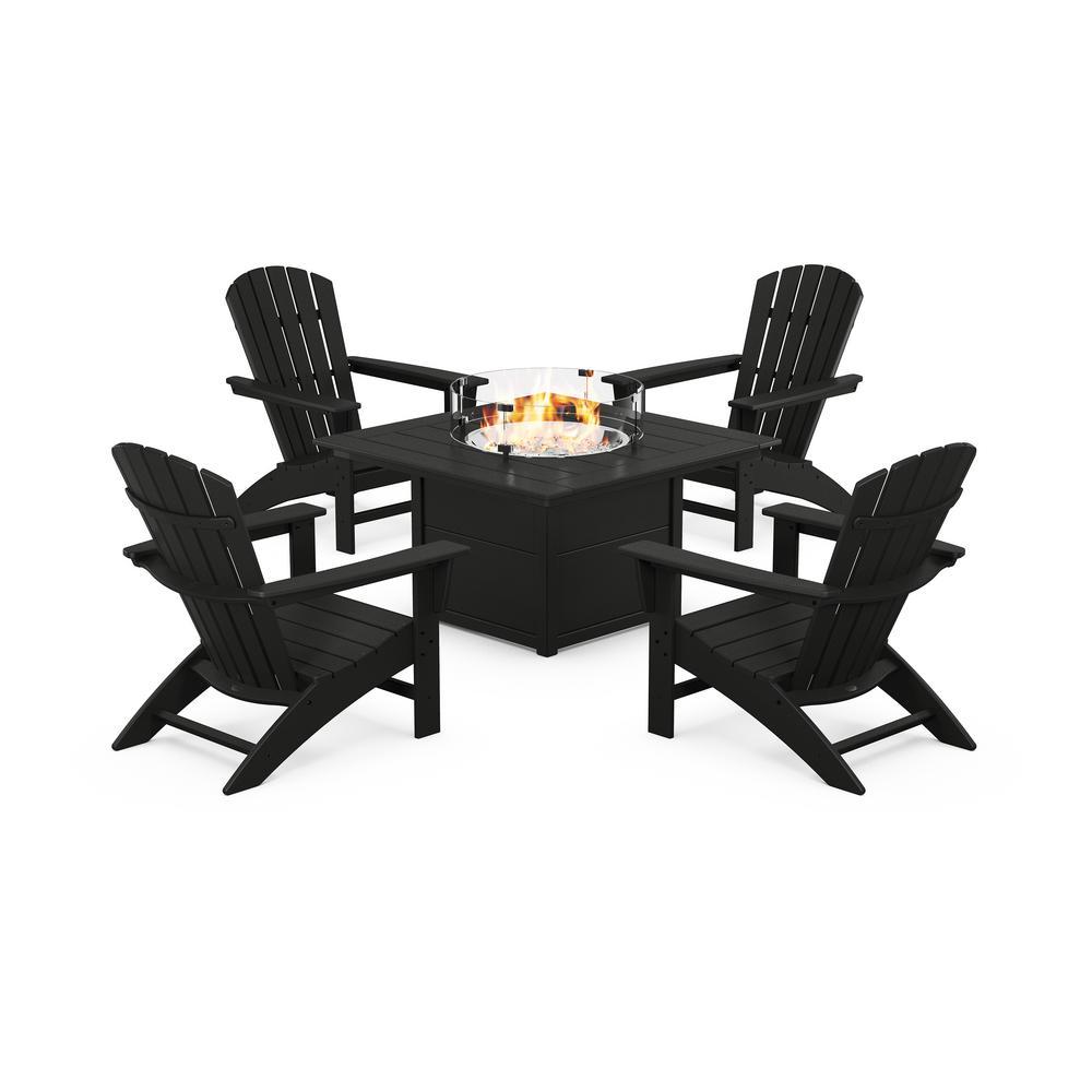 Grant Park 5-Piece Plastic Patio Adirondack Conversation Set with Fire Pit Table