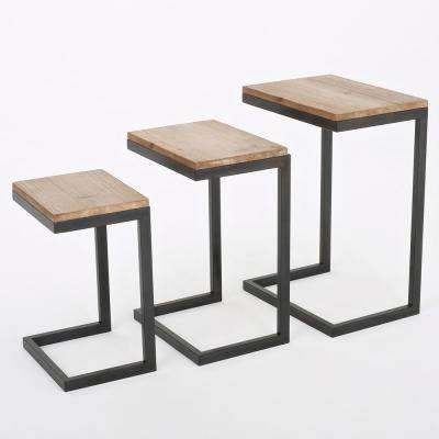 Brown and Gray Fir Wood Nesting Accent Tables (Set of 3)