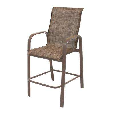 Marco Island Brownstone Commercial Grade Aluminum Bar Height Patio Dining Chair with Chesterfield Sling