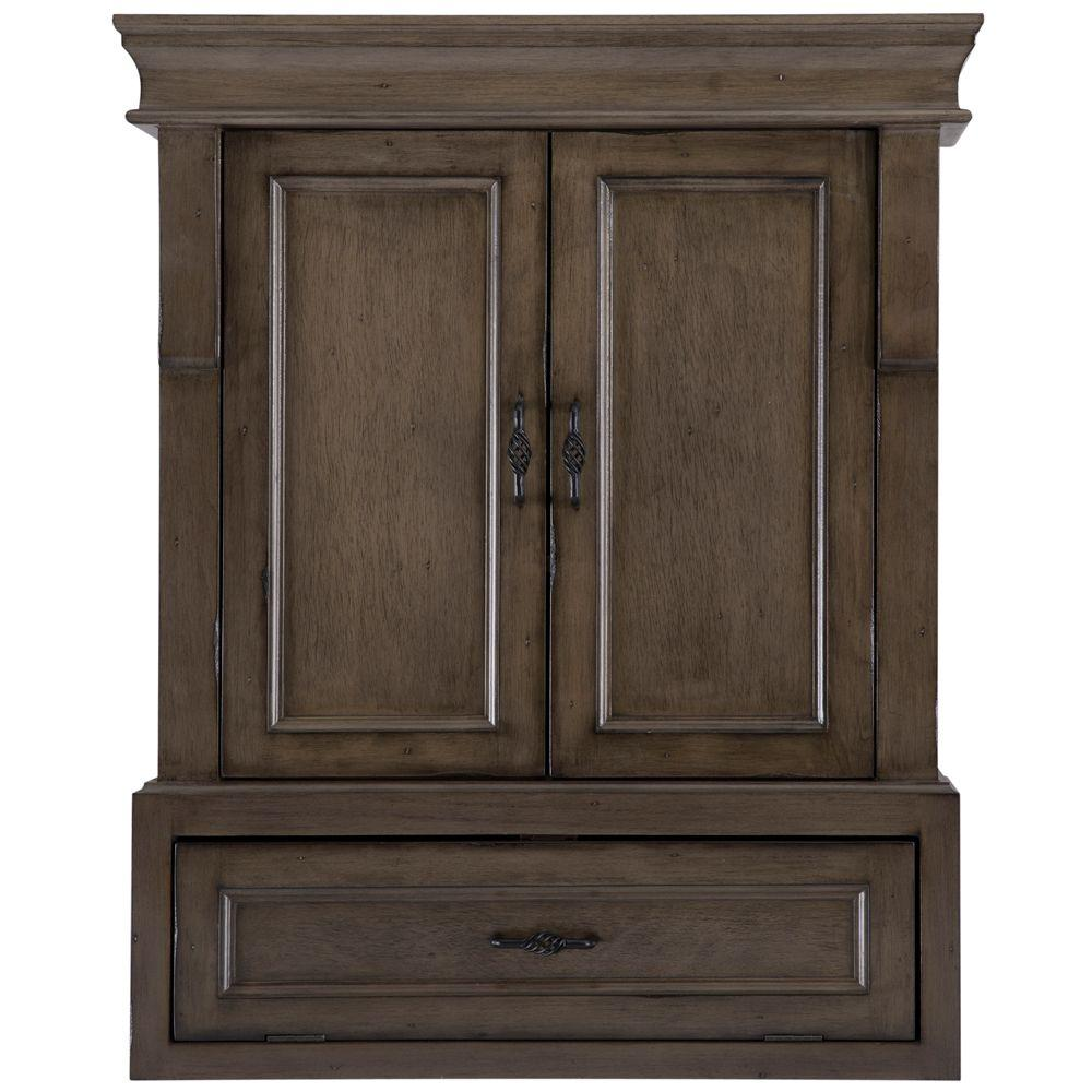 Home Decorators Collection Naples 26 3 4 In W Bathroom Storage Wall Cabinet In Distressed Grey