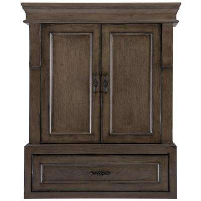 Naples 26-3/4 in. W Bathroom Storage Wall Cabinet in Distressed Grey