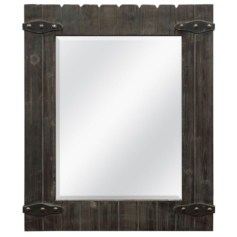 MCS 32.5 in. x 44.5 in. Barnwood Framed Mirror-DISCONTINUED
