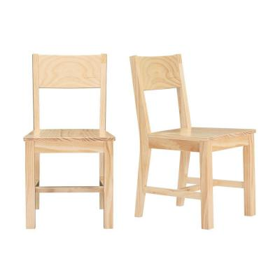Lincoln Unfinished Wood Dining Chair with Square Back (Set of 2) (20.32 in. W x 33.15 in. H)