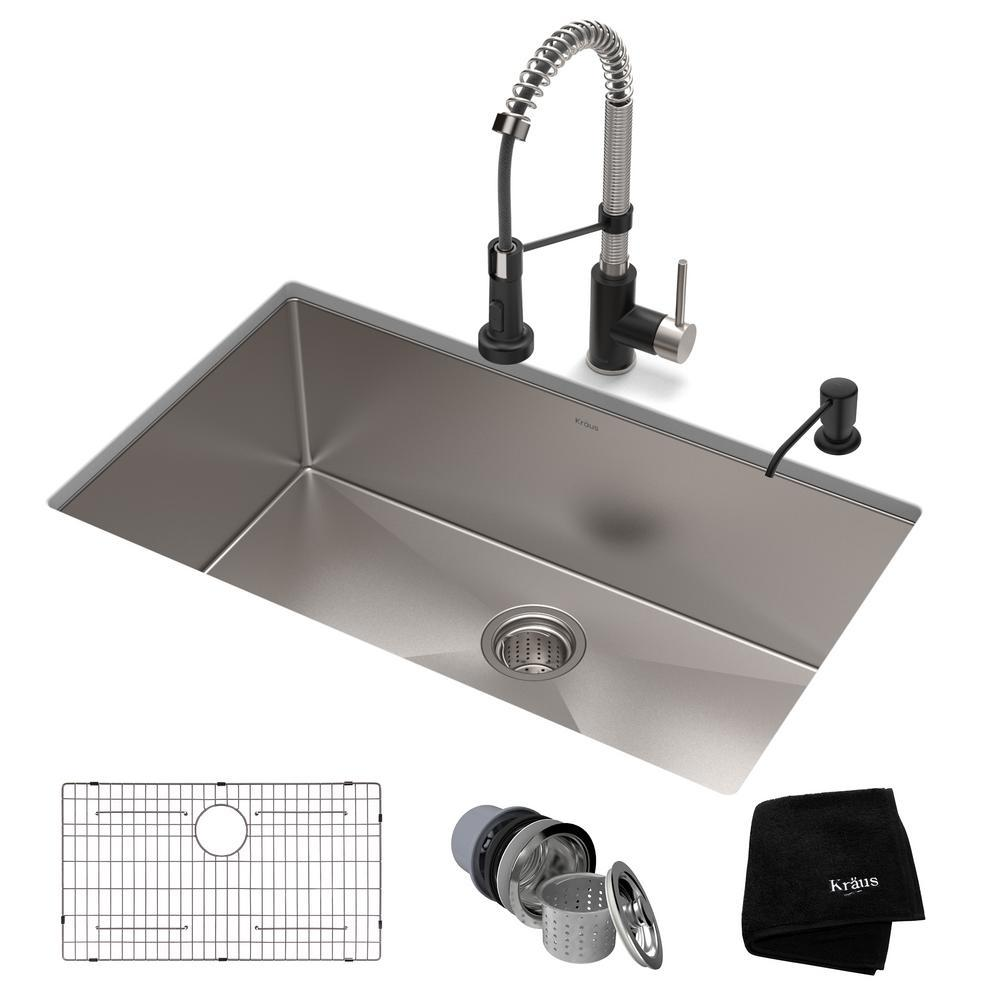 Kraus All In One Undermount Stainless Steel 30 In Single Bowl