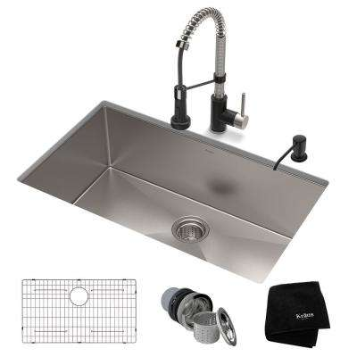 All-in-One Undermount Stainless Steel 30 in. Single Bowl Kitchen Sink with Faucet in Stainless Steel Matte Black