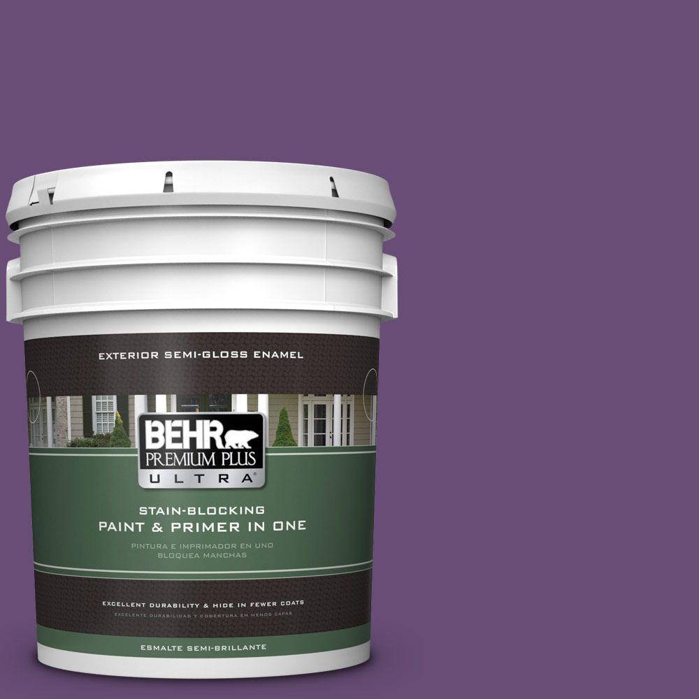 BEHR Premium Plus Ultra 5-gal. #660B-7 Exotic Purple Semi-Gloss Enamel Exterior Paint