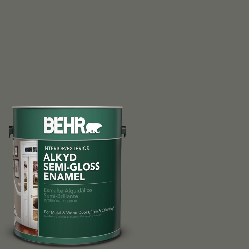 1 gal. #PPU18-18 Mined Coal Semi-Gloss Enamel Alkyd Interior/Exterior Paint