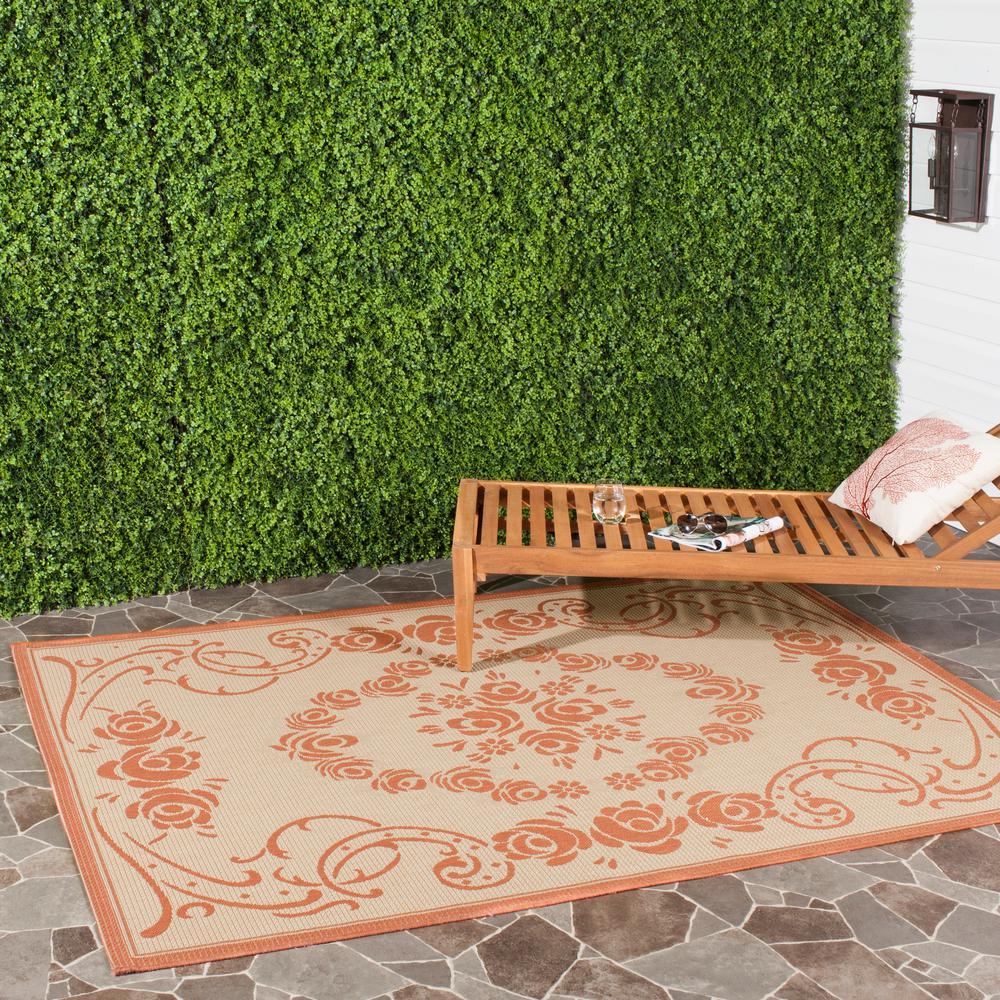 Courtyard Natural/Terracotta 8 ft. x 11 ft. Indoor/Outdoor Area Rug
