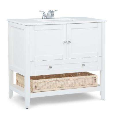 Cape Cod 36 in. Bath Vanity in Soft White with Quartz Marble Vanity Top in White with White Basin
