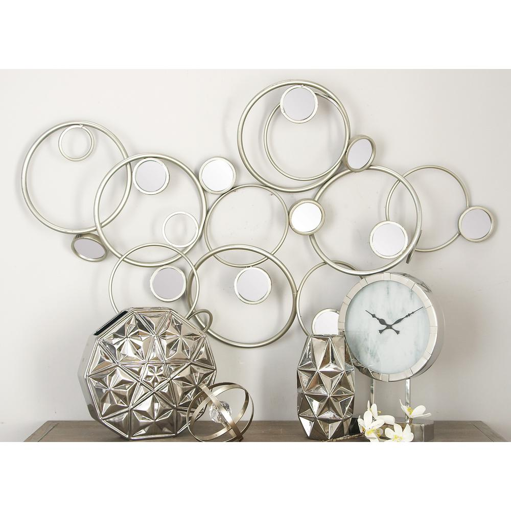 Contemporary silver finished iron abstract curl mirror for Modern silver home accessories