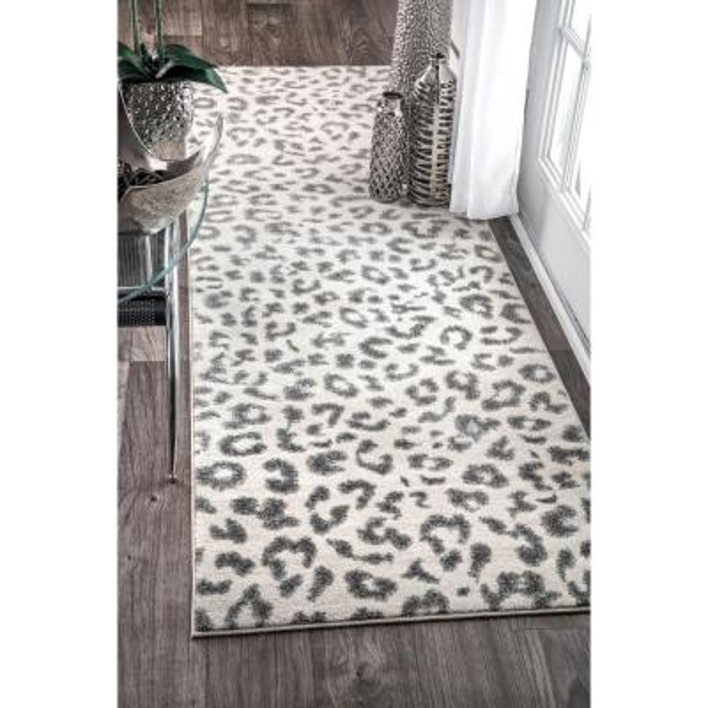 Leopard Print Gray 2 ft. x 8 ft. Runner Rug