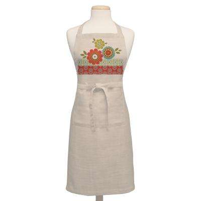 Happy Day 26 in. x 34 in. Oyster Cotton Adjustable Apron