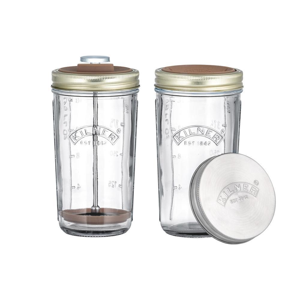 Set of 2 Glass Nut Milk Jars