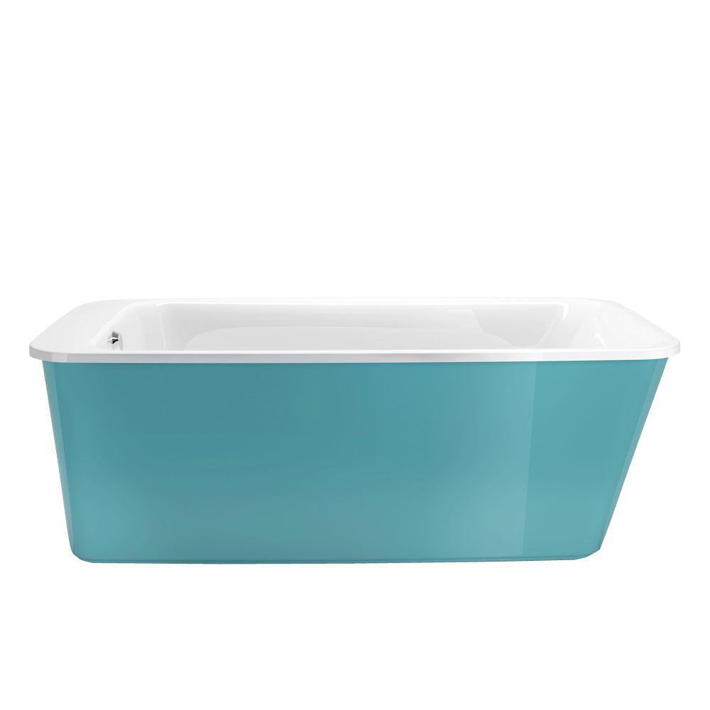Lounge 5.3 ft. Freestanding Reversible Drain Bathtub in White with Aqua