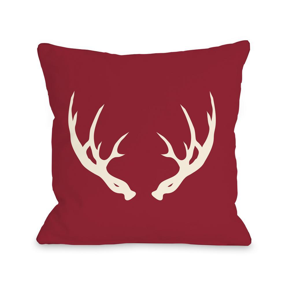 Huntsman Antlers 16 in. x 16 in. Decorative Pillow