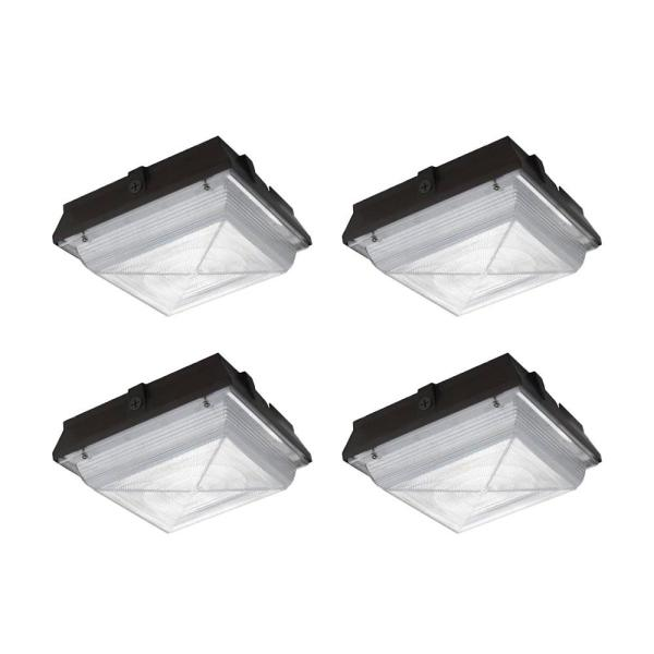 350-Watt Equivalent Integrated LED, 5200 Lumens, Ceiling/Canopy Outdoor Security Lighting (4-Pack)