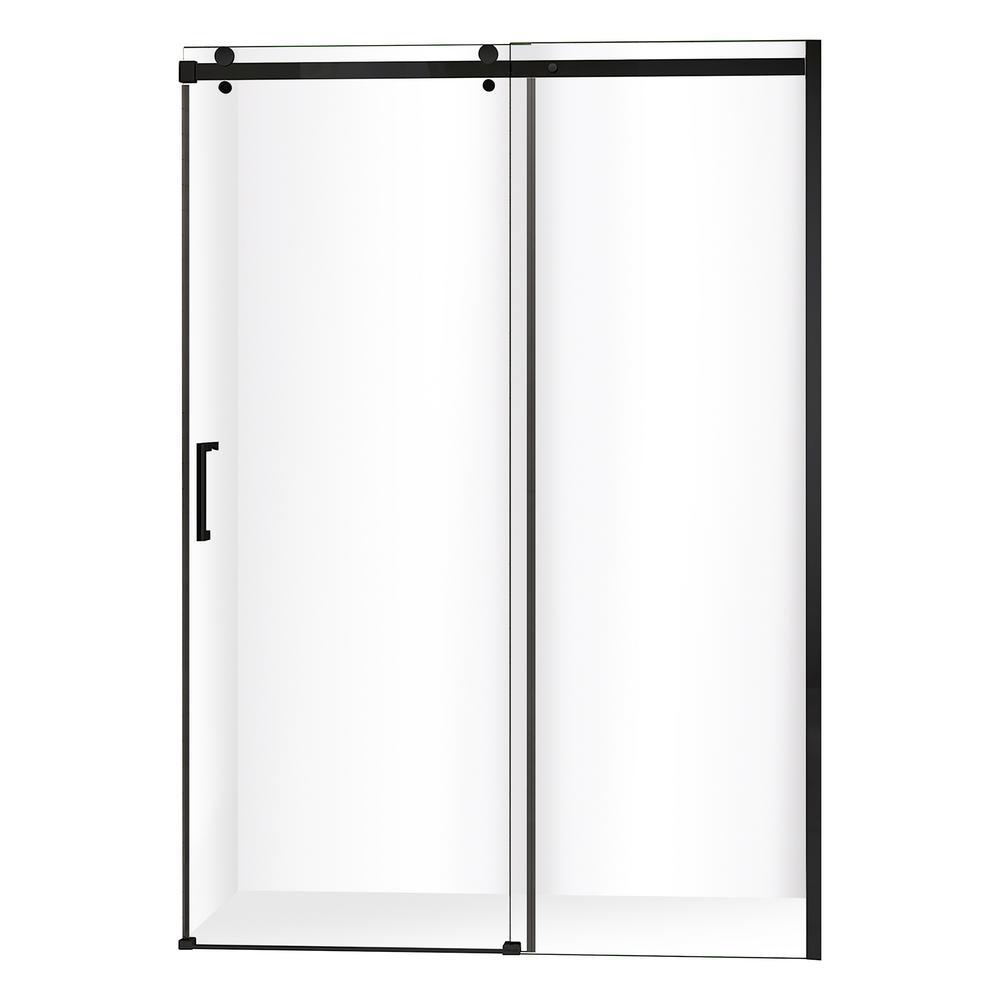 Quartz 48 in. x 78.75 in. Frameless Sliding Shower Door in Matte Black