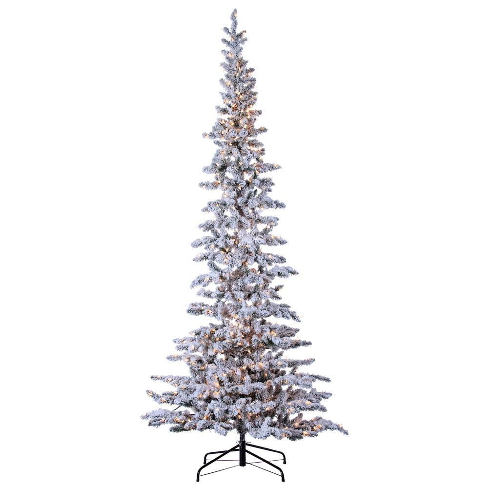 sterling 9 ft pre lit narrow flocked austin pine artificial christmas tree