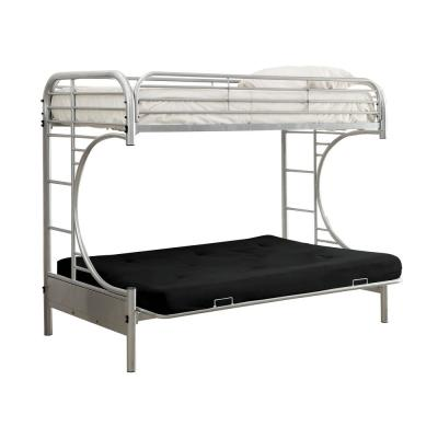 William's Home Furnishing Silver Opal Metal Twin Bed with Futon Base