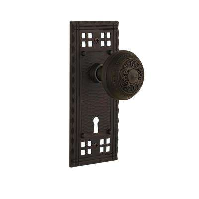 Craftsman Plate with Keyhole 2-3/4 in. Backset Oil-Rubbed Bronze Privacy Egg and Dart Door Knob
