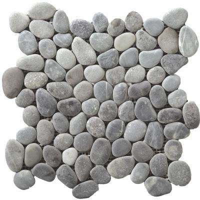 Venetian Pebbles Silver Honed 11.81 in. x 11.81 in. x 11 mm Pebbles Mesh-Mounted Mosaic Tile
