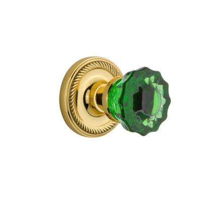 Rope Rosette 2-3/4 in. Backset Unlaquered Brass Privacy Crystal Emerald Glass Door Knob