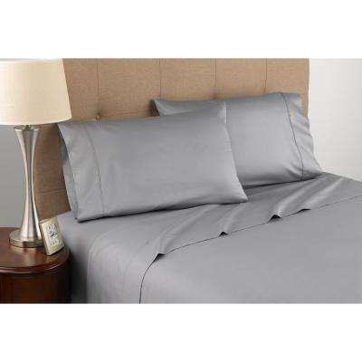 Certified Organic T300 3-Piece Grey Twin Sheet Set