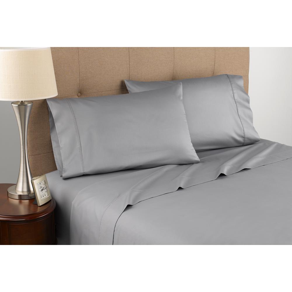 bdc6c779727 Modern Living 300 Thread Count Certified Organic Grey Cotton Queen Sheet Set-028828276766  - The Home Depot