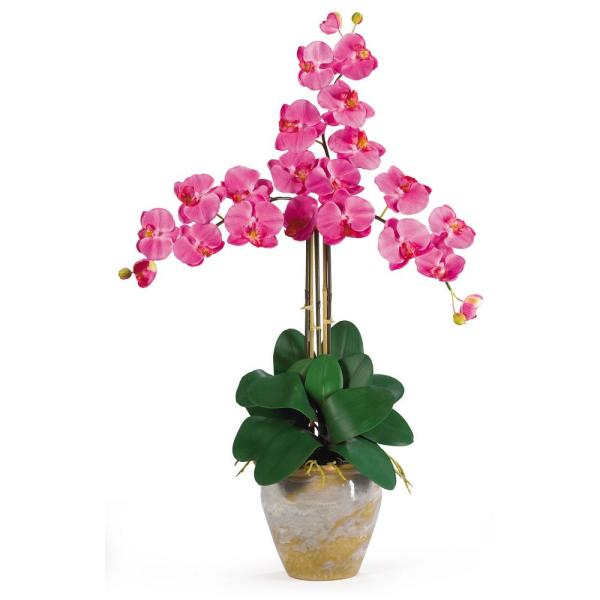 Nearly Natural 27 in. Triple Phalaenopsis Silk Orchid Flower Arrangement in