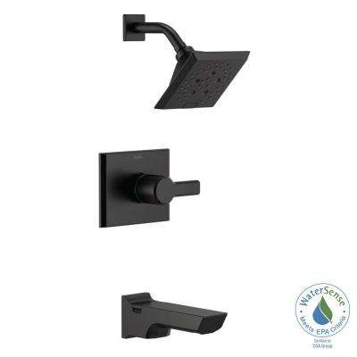 Pivotal 1-Handle Wall-Mount Tub and Shower Trim Kit with H2Okinetic Technology in Matte Black (Valve Not Included)