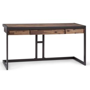 60 in. Rectangular Rustic Aged Brown/Black 2 Drawer Writing Desk with Solid Wood Material