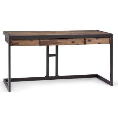 Erina Solid Acacia Wood and Metal Modern Industrial 60 in. Wide Writing Office Desk in Rustic Natural Aged Brown