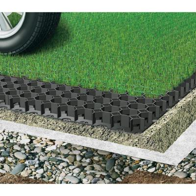 19.7 in. x 19.7 in. x 1.9 in. Black Permeable Plastic Grass Pavers for Parking Lots, Driveways (4 Pieces/11 sq.ft.)