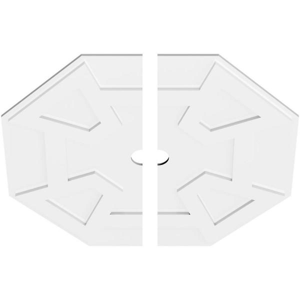 Ekena Millwork 1 In P X 12 1 2 In C X 36 In Od X 3 In Id Logan Architectural Grade Pvc Contemporary Ceiling Medallion Two Piece Cmp36lg2 03000 The Home Depot