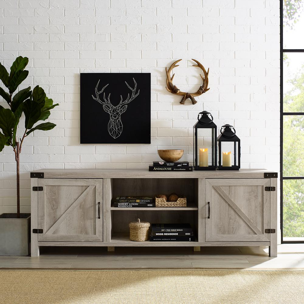 70 in. White Oak Composite TV Stand 75 in. with Doors