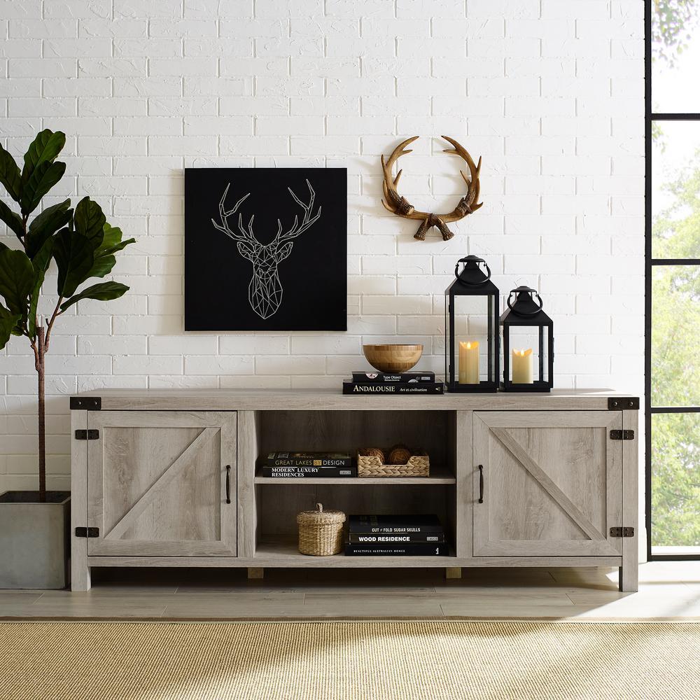70 in. White Oak Barn Door TV Stand with Side Doors